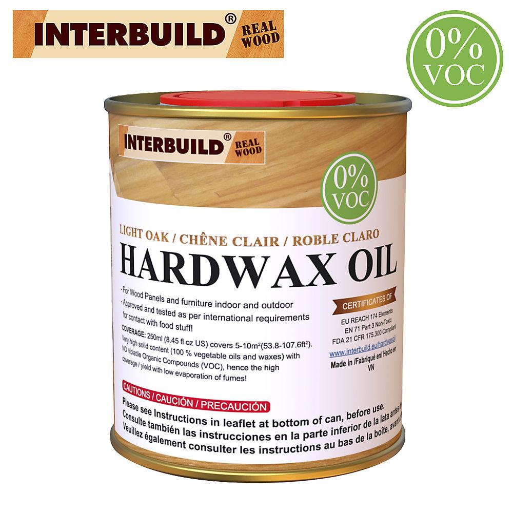 Teinture à l'huile de bois naturelle Hardwax, Sans danger pour les aliments, 100% sans COV, Chêne clair, 250 ml
