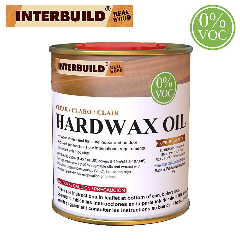 Couche de finition à l'huile de bois naturel Hardwax, Sécuritaire pour les aliments, 100% sans COV, SCELLANT TRANSPARENT, 250 ml