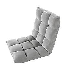 Adjustable Light Grey Microplush Gaming Floor Chair