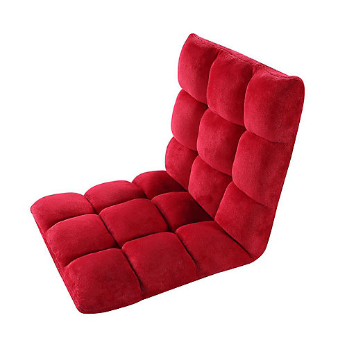 Adjustable Red Microplush Gaming Floor Chair