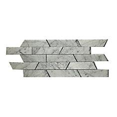Carreaux de mosaïque de forme trapèze pour murs et sols, Bianco Carrara, 29 3/4 po x 10 3/10 po, marbre poli, blanc