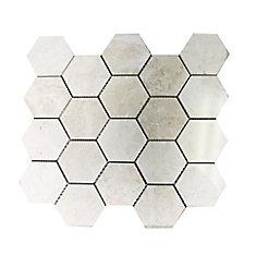 Carreaux de mosaïque de forme hexagone pour murs et sols, Royal Beige, 13 9/10 po x 13 3/5 po, marbre poli