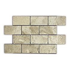 Carreaux de mosaïque de forme brique pour murs et sols, Royal Beige, 13 1/2 po x 11 3/4 po, marbre poli