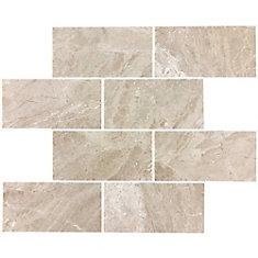 Carreaux de mosaïque de forme brique pour murs et sols, Royal Beige, 15 po x 12 po, marbre poli