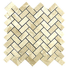 Carreaux de mosaïque de forme chevrons pour murs et sols, Royal Beige, 12 1/5 po x 11 7/10 po, marbre poli