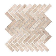 Carreaux de mosaïque de forme chevrons pour murs et sols, Royal Beige, 13 2/5 po x 13 1/5 po, marbre poli