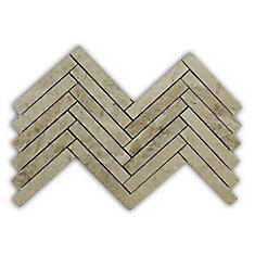 Carreaux de mosaïque de forme chevrons pour murs et sols, Royal Beige, 17 3/20 po x 12 7/20 po, marbre poli