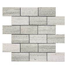 Carreaux de mosaïque en forme biseauté brique pour murs et sols, Wooden White, 13 4/5 po x 11 4/5 po, marbre poli