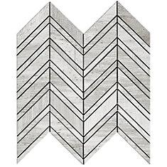Carreaux de mosaïque de forme chevrons pour murs et sols, Wooden White, 12 1/5 po x 11 7/10 po, marbre multi-finitions