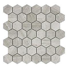 Carreaux de mosaïque de forme hexagone pour murs et sols, Wooden White, 12 4/5 po x 12 2/5 po, marbre multi-finitions