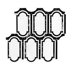 Carreaux de mosaïque murs et sols, Waterjet Plaquette, 14 po x 12 8/10 po, marbre, blanc