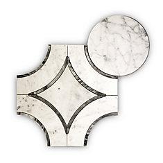Carreaux de mosaïque murs et sols, Waterjet Bianco Carrara Archaic, 17 1/2 po x 15 7/20 po, marbre, blanc