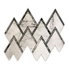 Carreaux de mosaïque murs et sols, Waterjet Bianco Carrara Pinnacle, 14 1/10 po x 12 2/5 po, marbre, blanc