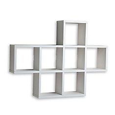 31 inch x 23 inch White Laminated Cubby Shelf