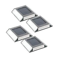 Éclairage de voie à LED intégré extérieur solaire pour l'extérieur en acier inoxydable (paquet de 4)