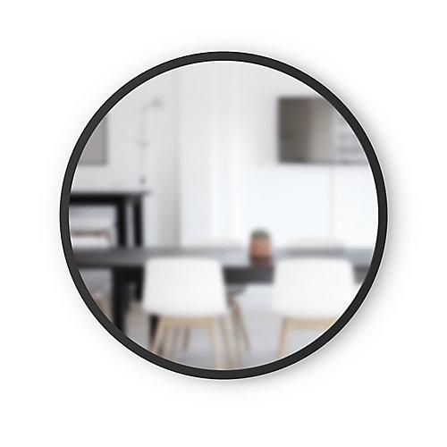 Hub Mirror. Miroir Mural Rond Hub. Contour En Caoutchouc Noir. Diamètre 61Cm, Épaisseur 2Cm.