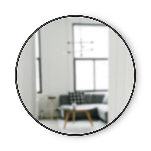 Hub Mirror. Miroir Mural Rond Hub. Contour En Caoutchouc Noir. Diamètre 94Cm, Épaisseur 2Cm.
