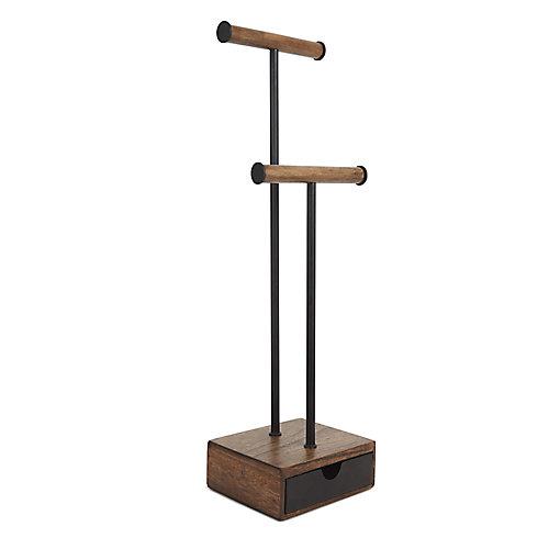 Présentoir À Bijoux Pillar. En Bois Coloris Noyer Et Métal Noir. Dimension 15.2X12.7X52.1Cm