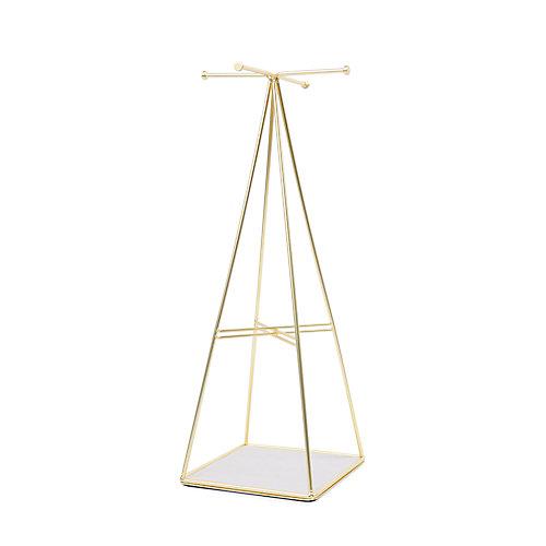 Prisma Jewelry Stand. Arbre À Bijoux Prisma En Métal Doré Mat. Dimension 12.7X12.7X36.2Cm