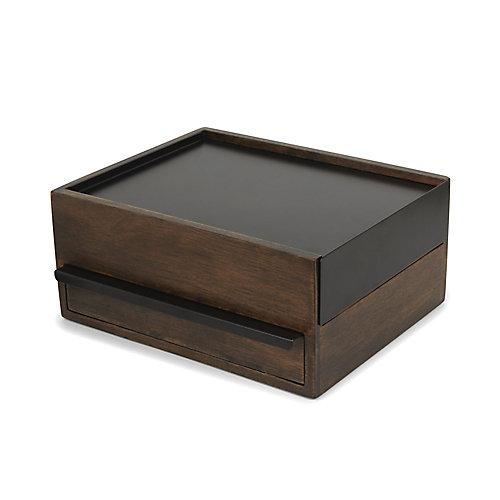 Coffret Stowit Noir Et Noyer - Rangement Moderne Pour Objets Et Souvenirs  25.9X22X11.5Cm