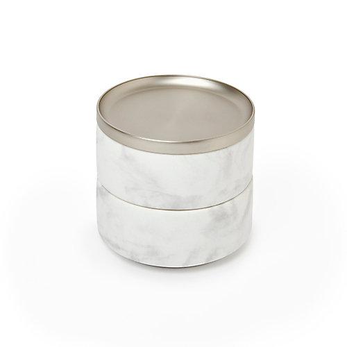 Tesora Box. Boîte À Bijoux En Résine De Marbre Et Métal Nickel. Dimension 12.7Cm X 11.4Cm