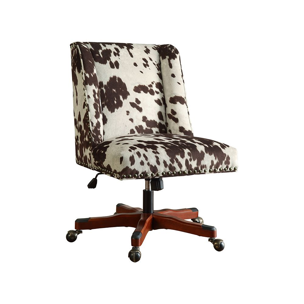 Linon Home Decor Office Chair Udder Madness Milk - Walnut Wood Base