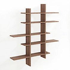 Weathered Oak MDF 5-Level Asymmetric Floating Shelf
