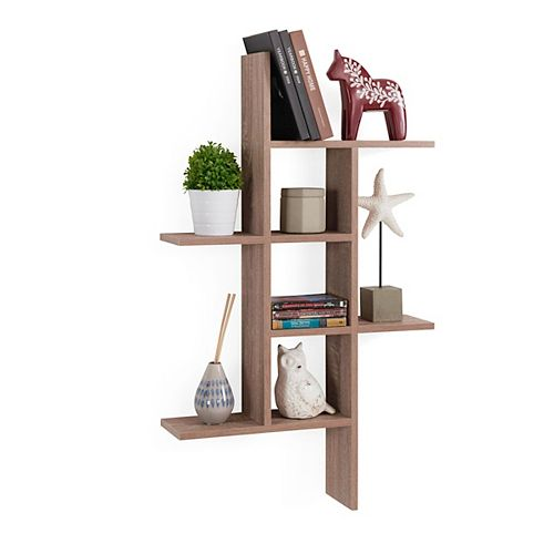 Danya B. Cantilever Weathered Oak MDF Floating Wall Shelf