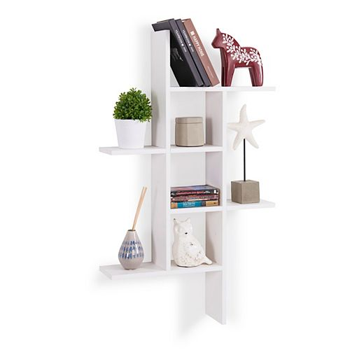 Danya B. Cantilever White MDF Floating Wall Shelf