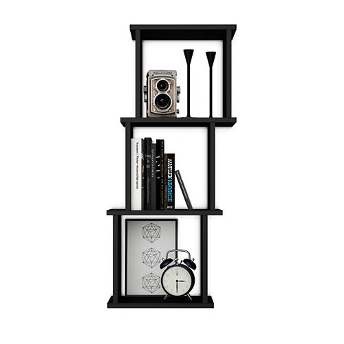 Danya B. Bauhaus Black MDF Wood 3 Cube Floating Wall Shelf