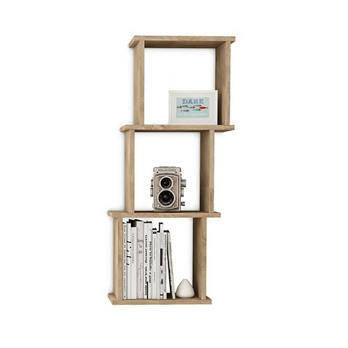 Danya B. Bauhaus Weathered Oak MDF Wood 3 Cube Floating Wall Shelf