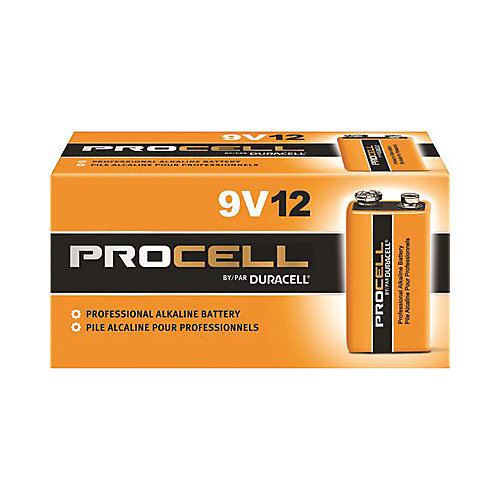Procell Alkaline Battery, 9 Volt, 12 Pack