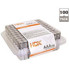 Hdx Alkaline Battery, AAA Cell, 100 Pack