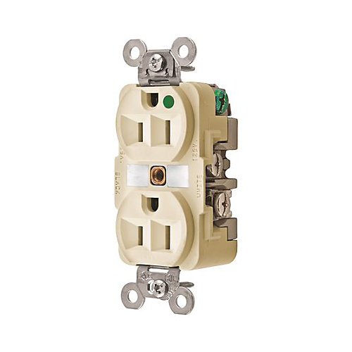 Hubbell Wiring 15 Amp 125-Volt 5-15r Hospital Grade Duplex Receptacle, Ivory