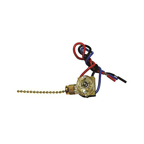 Pass & Seymour Heavy-Duty 2 Circuit, 4 Position Pull Chain Switch