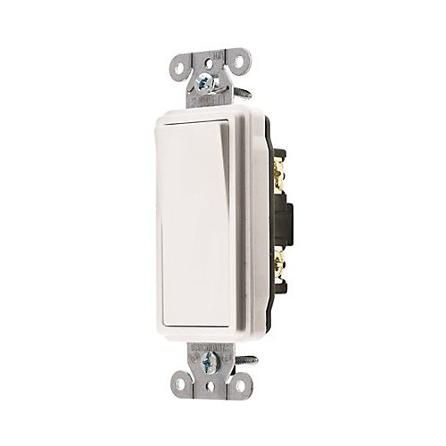 Hubbell Wiring 15 Amp Single-Pole Hubbell Specification Grade Decorator Rocker Switch, White