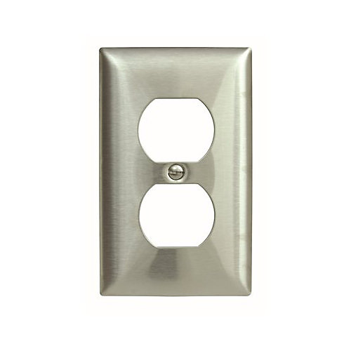 Hubbell Wiring 1-Gang Duplex Wall Plate, Stainless Steel