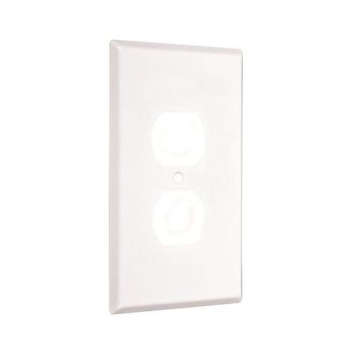 Taymac Metal Jumbo Duplex Receptacle Wallplate, Smooth White