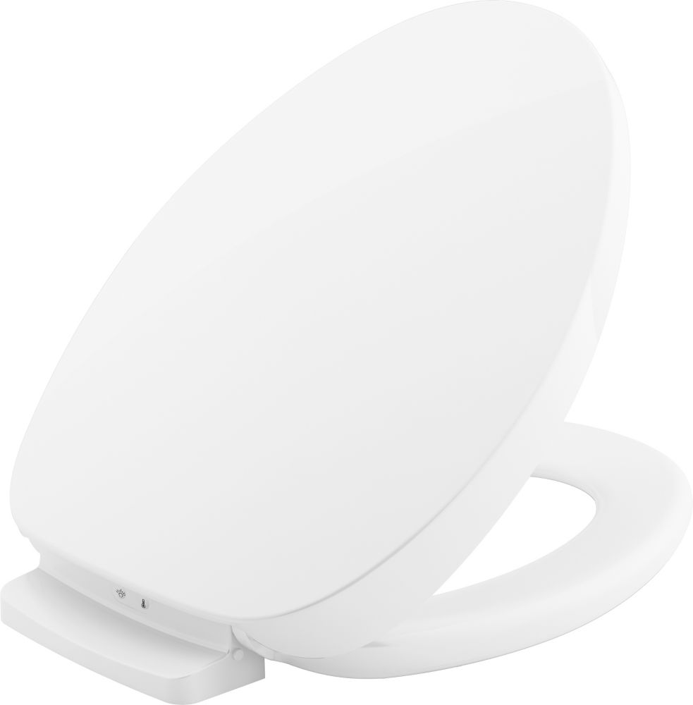Purewarmth heated elongated toilet seat in White