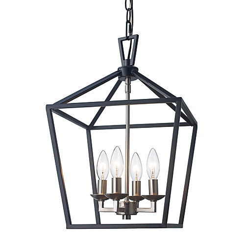 Lacey 4-Light Black & Brushed Nickel Pendant