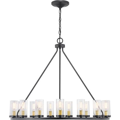Progress Lighting Hartwell Collection 15-light Antique Bronze Chandelier with Natural Brass Accents