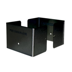 4.5 inch. L x 4.5 inch. W x 3 inch. H Black Fence Post Guard Protector for posts commonly called 5x5's.
