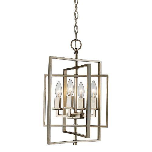 Bel Air Lighting 4-Light Antique, E12 Base, Silver Leaf Pendant
