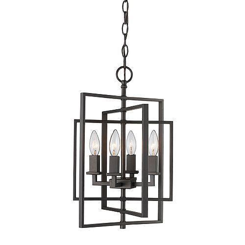 Bel Air Lighting 4-Light, 60 Watt, E12 base Rubbed Oil Bronze Pendant