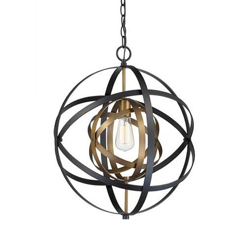 Bel Air Lighting 19 inch H. Monrovia 1-Light Antique Gold and Black Pendant