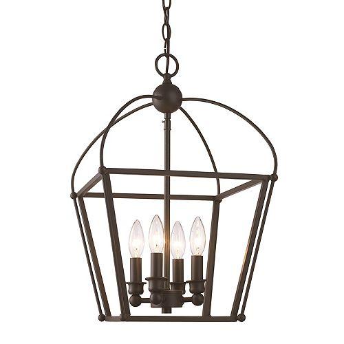 Bel Air Lighting Agnew 4-Light, Adjustable height, Rubbed Oil Bronze Pendant