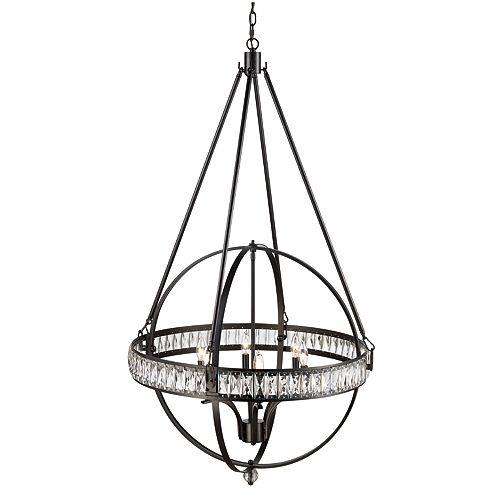 Bel Air Lighting Elan 6-Light, Adjustable Height, Rubbed Oil Bronze Pendant