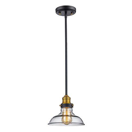 Bel Air Lighting Jackson 1-Light Rubbed Oil Bronze Pendant, clear glass shade