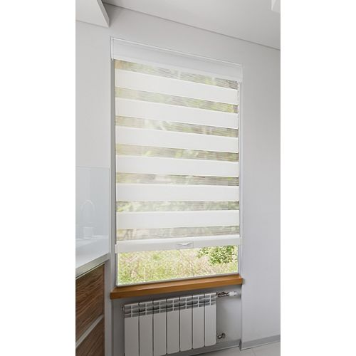 Lumi 23 inch x 72 inch(WxL) Cordless Zebra Roller Blind, Privacy White Light Filtering with Valance