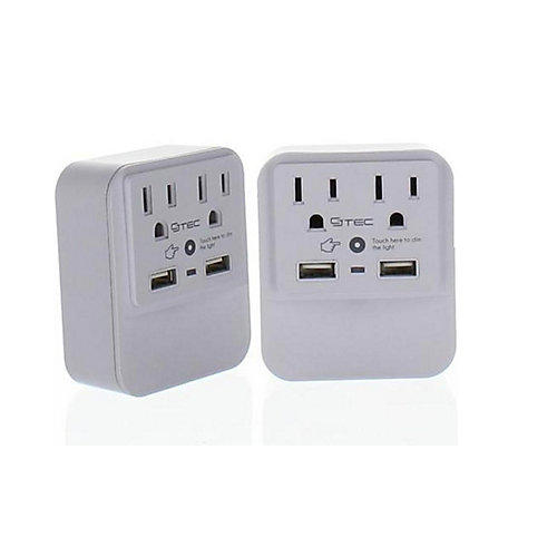 2 Outlet and Dual USB Wall Tap with Dimmable Nightlight